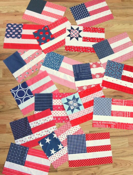 Red, white and blue USA flag quilt blocks by Amy Smart of Diary of a Quilter