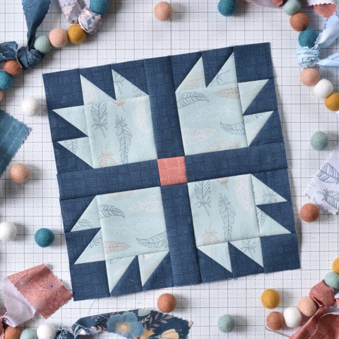 Amanda Castor Material Girl Quilts Bear Paw Quilt block