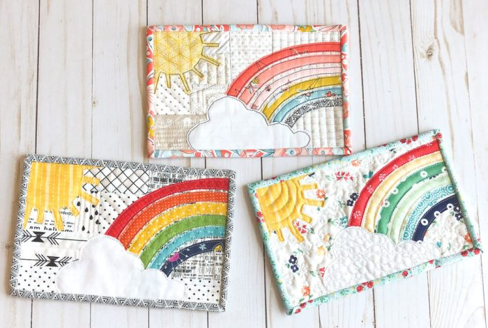 Rainbow applique mini quilt by Ameroonie Designs
