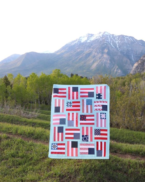 """Flying Flags"" Free Quilts of Valor (QOV) Pattern designed by Amy Smart from Diary of a Quilter"