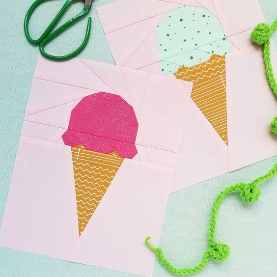 Summer-themed Sewing Ideas: Ice Cream Scoop quilt pattern by Quilty Pie