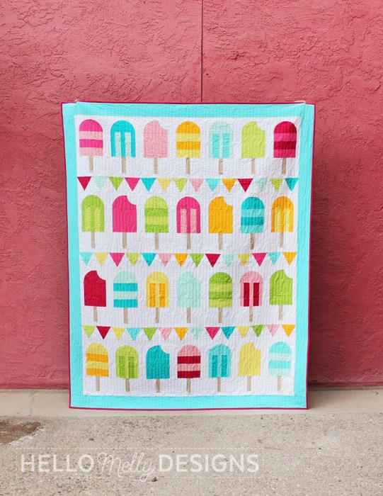 Ideas for Summer-Themed Sewing projects: Popsicle Parade Quilt by Hello Melly Designs