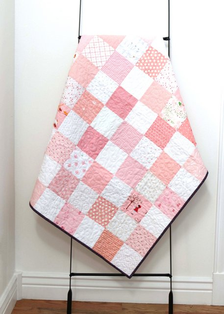 Pink and White Patchwork Checkerboard baby quilt