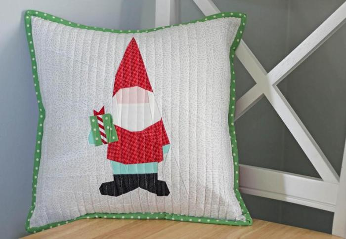 Foundation Paper-pieced gnome quilt block pattern by Center Street Designs