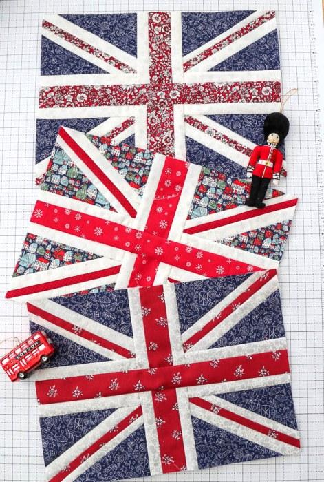 Liberty of London Christmas Union Jack Quilt blocks