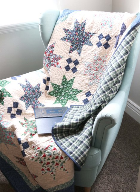 A cozy winter quilt using Liberty of London and plaid flannel by Amy Smart