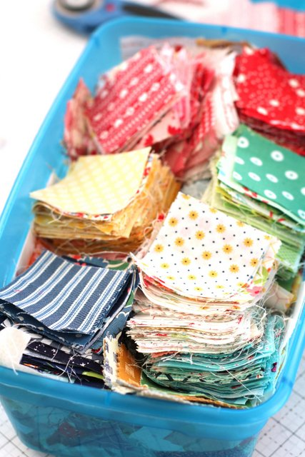 "Ideas for sorting, storing and using 2 1/2"" fabric scraps."