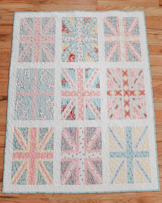 Pastel Union Jack baby quilt