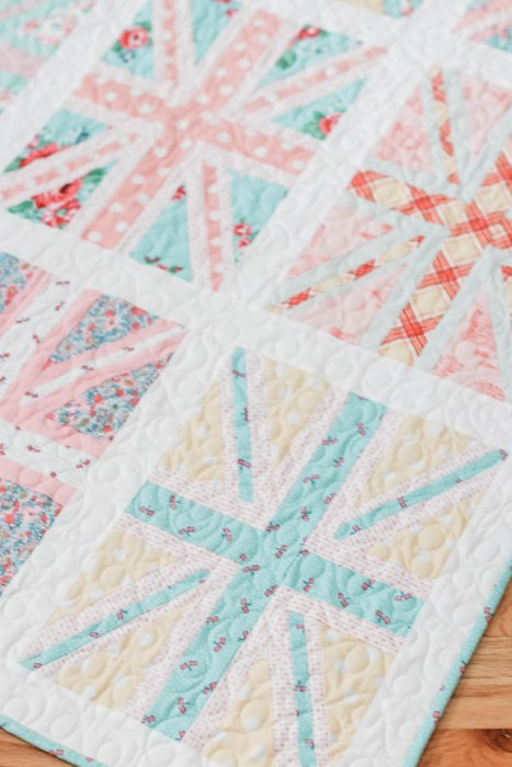 Union Jack pastel baby quilt featuring Notting Hill and Liberty of London