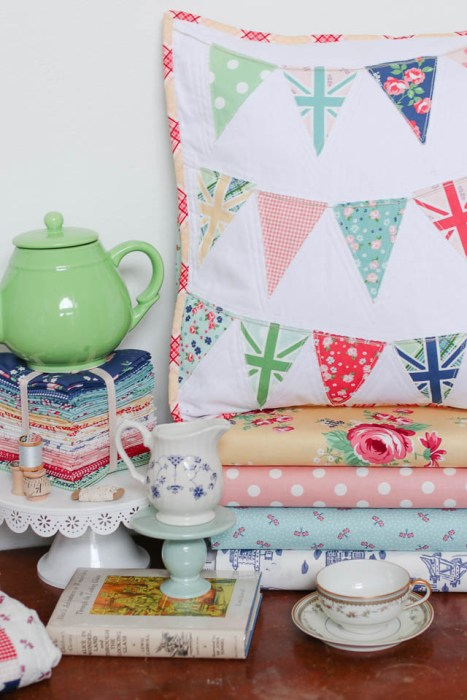 Union Jack bunting/pennant quilted pillow