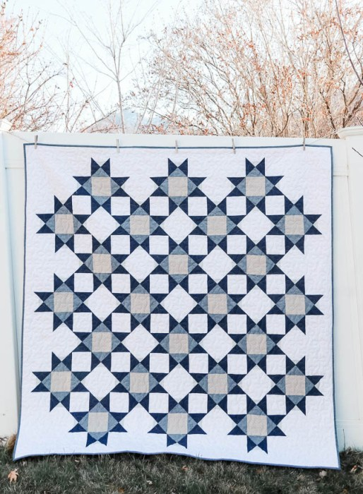 Modern Denim and Gray Star Quilt - design by Amy Smart