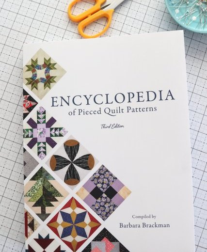 Encyclopedia reference book of hundreds of traditional pieced quilt blocks