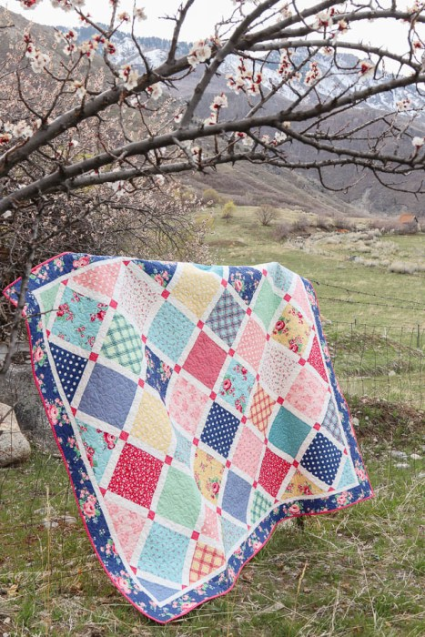 Spring Lattice quilt pattern made with Notting Hill fabric by Amy Smart