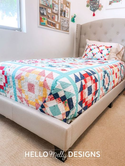Gleeful Twin Size Quilt pattern by Hello Melly Designs