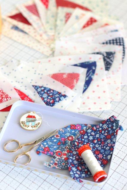 Orange Peel Applique quilt blocks with Liberty quilting Cotton