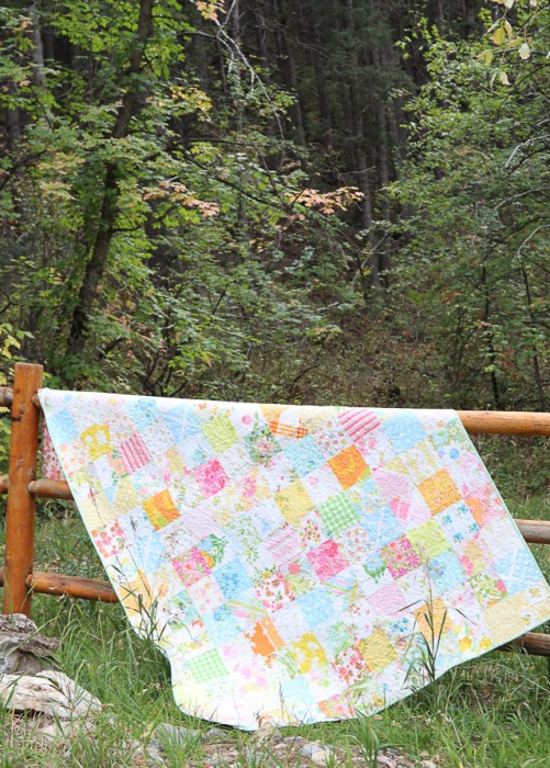 Patchwork quilt made from vintage sheets and linens  from the 60's and 70's