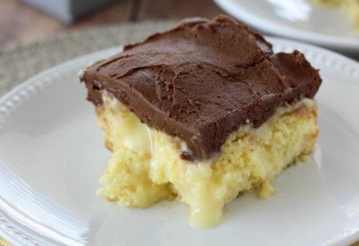 Boston Cream Pie Poke Cake Diary Of A Recipe Collector