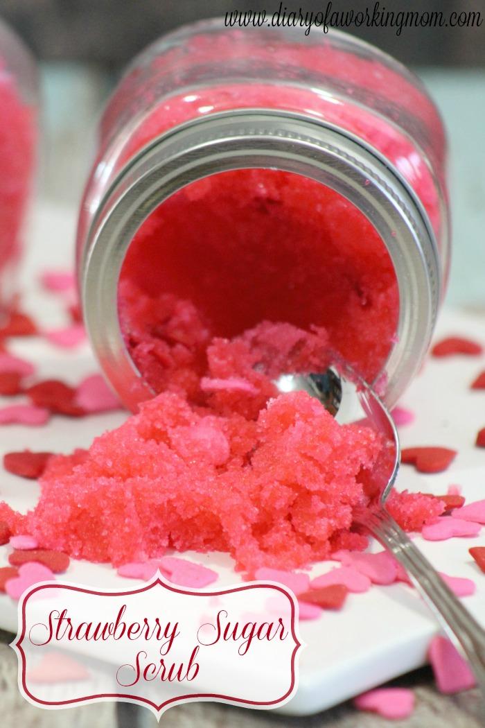 DIY Valentines Day Strawberry Sugar Scrub Recipe Diary
