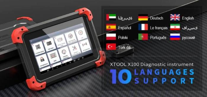 XTOOL X100 PAD Key Programmer with EEPROM Adapter Languages