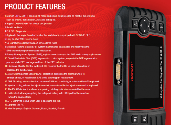 iCARSOFT CR V2.0 1+4 Product Features