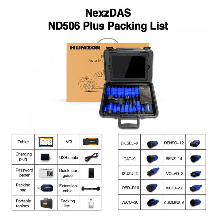 Humzor NexzDAS ND506 PLUS Heavy Duty Diagnostic Tool Package List