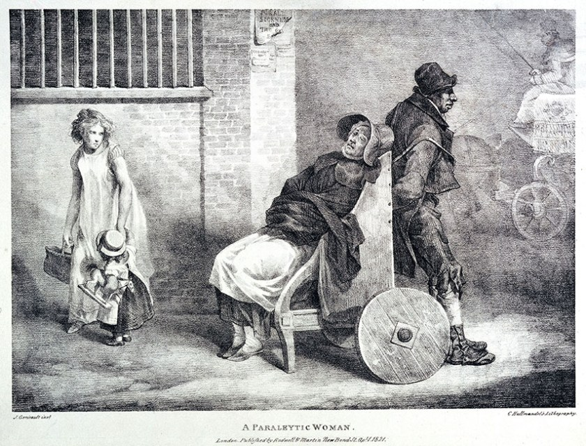 A paralytic woman being transported along the street in a window. image