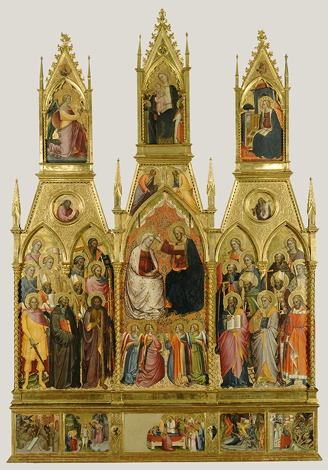 Polyptych with Coronation of the Virgin and Saints. Plate