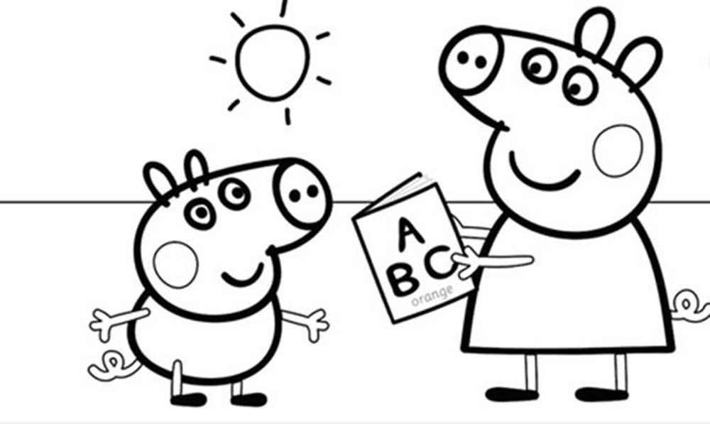 Peppa Pig Y Su Hermano Jorge Estudiando Para Iluminar Y