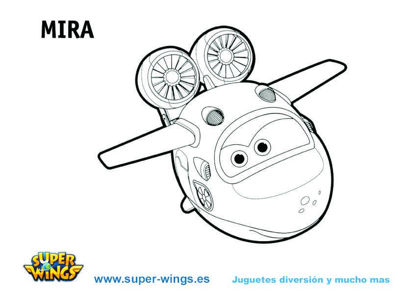 Plantilla colorear Super Wings: Mira