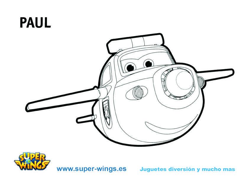 Plantilla colorear Super Wings: Paul