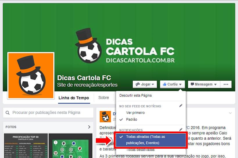 c72c00516 Confira como receber notificações e todas as atividades do Dicas Cartola FC  no Facebook