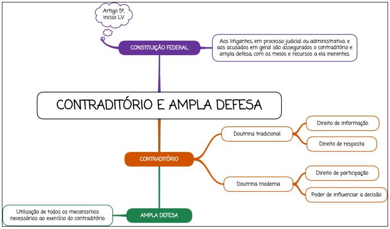 Contraditório e Ampla Defesa - mapa mental