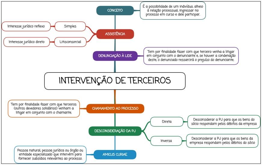 Intervenção de terceiros - mapa mental