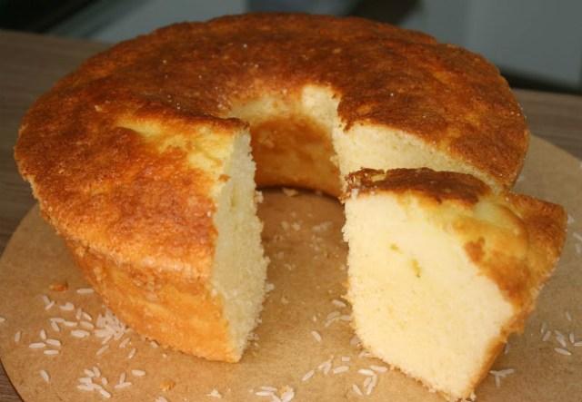 bolo simples de arroz sem gluten
