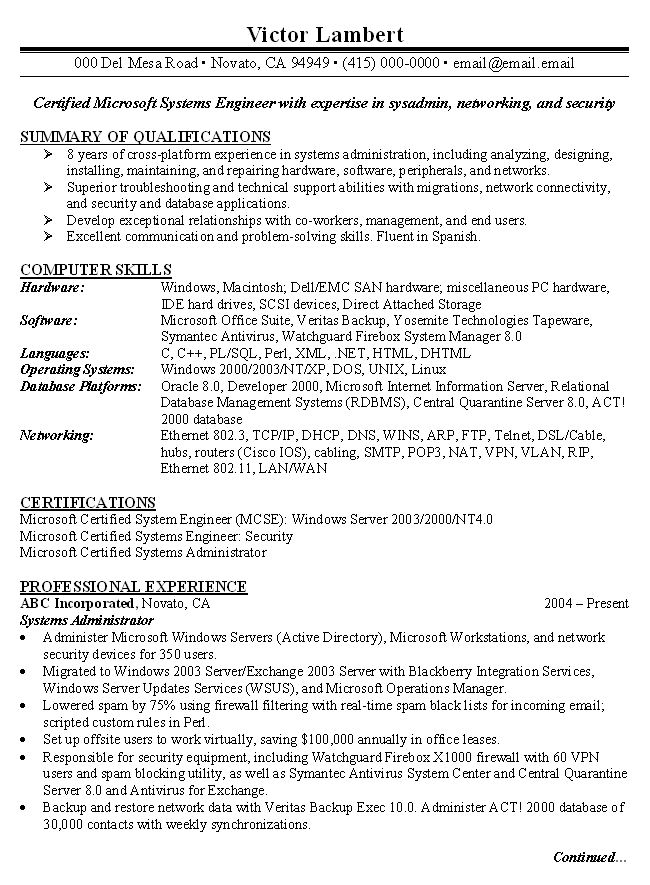 sample system administrator resumes template