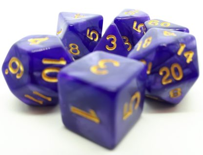 RPG Wuerfel Set Pearl Purple/Gold