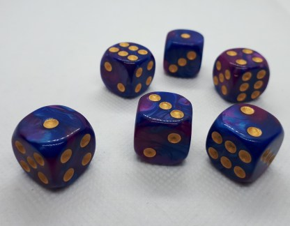 "RPG Wuerfel Set D6 16mm ""blue+purple"""