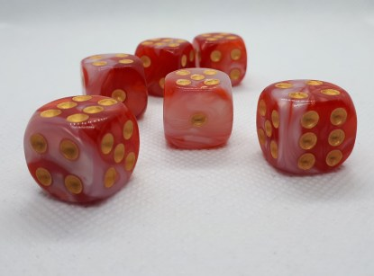 "RPG Wuerfel Set D6 16mm ""strawberry"""