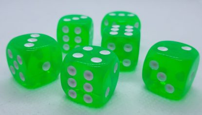 RPG Wuerfel Set D6 16mm Transparent Green