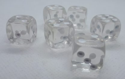 RPG Wuerfel Set D6 16mm Transparent Crystall