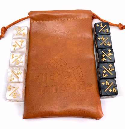 RPG Wuerfel Set Counter dice pearl white and black with bag