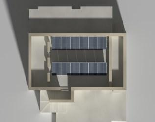 Studio della luce solare incidente su un impianto fotovoltaico, 21-dic h12:00
