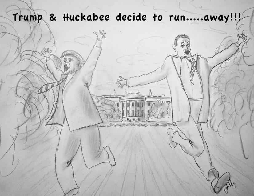 Cartoons By Clayton Liotta @DickMorris.Com: Trump and Huckabee... - Click Here!