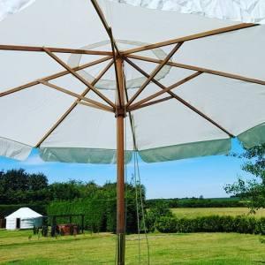 White Round Parasol