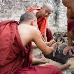 Monks cutting firewood.