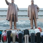Paying homage to Kim Il Sung and Kim Jung Il at Mansudae Monument (meaning the 10,000 years, or eternal, life platform).