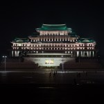 Kim Il Sung Square and Grand People's Study Hall at night