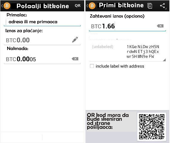 Aplikacija bitkoin