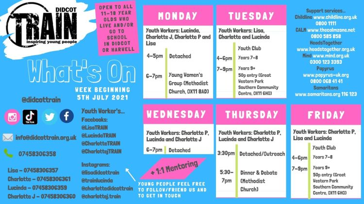 This week's timetable 5th July 2021