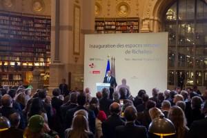 François Hollande. Inauguration des espaces rénovés BNF Richelieu
